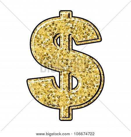 Gold Dollar. Currency Sign Of Precious Metal. American National Money.
