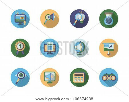 Search optimization flat color vector icons