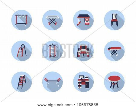 Home care flat round vector icons