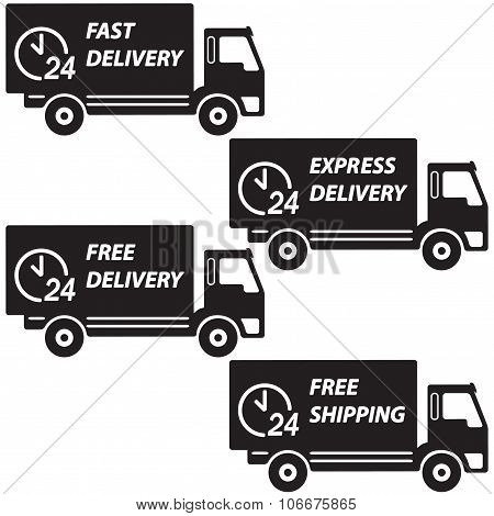 Delivery trucks set. Vector icon or sign. Fast delivery, express delivery, free delivery and free sh