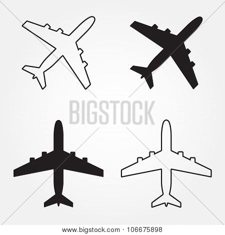 Aircraft or airplane icon set. Aircraft outline silhouette. Vector illustration.
