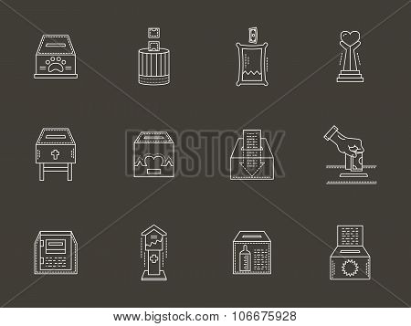 Fund boxes white line vector icons