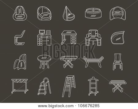 White line style furniture vector icons set
