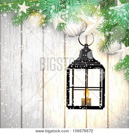 christmas theme with black lantern on white wooden background, illustration