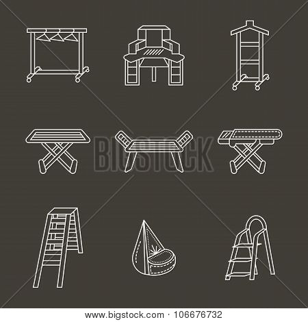 Flat white line home furniture vector icons set