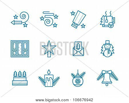 Blue line vector icons for Christmas