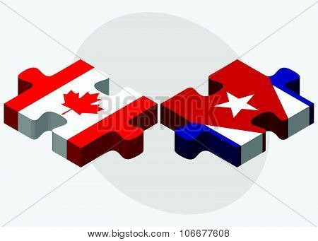 Canada And Cuba Flags