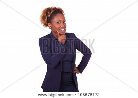 Thoughtful African American Business Woman  Isolated On White Background