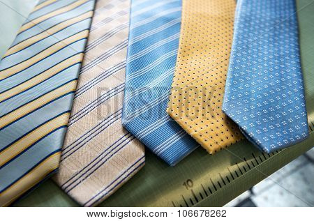 Selection Of Handmade Ties At A Tailor