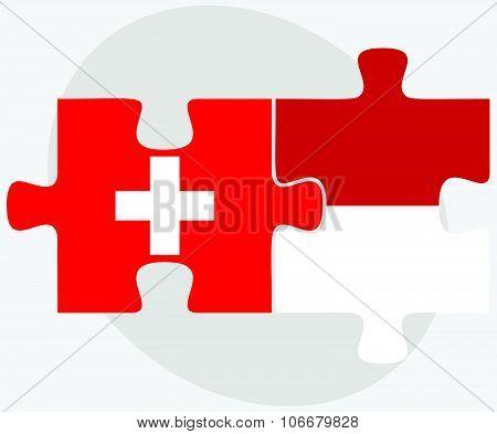 Switzerland And Monaco Flags