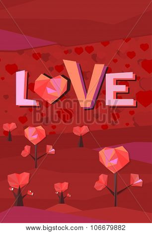 heart trees illustration