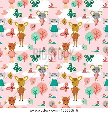 Childish Seamless Background With Animals