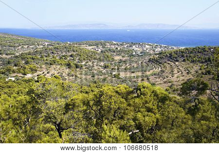panoramic view of Aegina island Greece