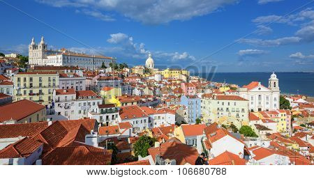 Panoramic View Of Alfama Quarter, Lisbon, Portugal