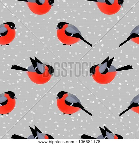 Seamless Pattern With Cute Bullfinches In Winter. Vector Seamless Texture For Wallpapers, Pattern Fi