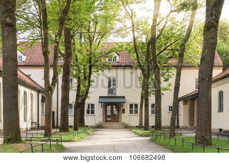 Traditional Pastoral Catholic Church Backyard In European City