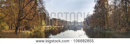 Panorama Of Palace Over Water In Lazienki Park, Warsaw, Poland