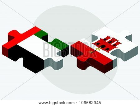 United Arab Emirates And Gibraltar Flags