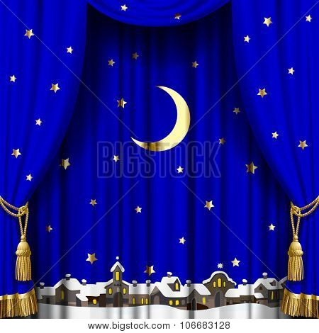Christmas and New Year blue curtain with a town skyline in snow down, gold moon and stars. Square theater and Christmas background. Artistic poster