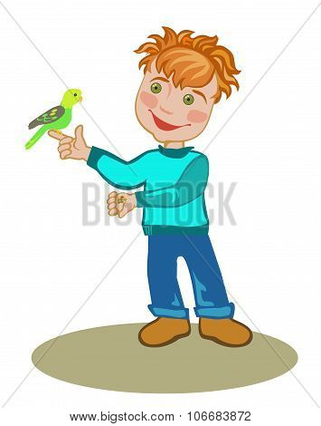 Little Boy With A Budgie.