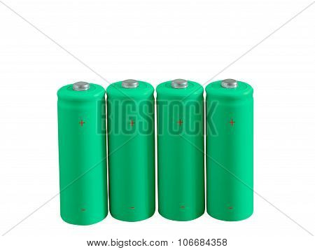 Set Of Green Rechargeable Eco Batteries