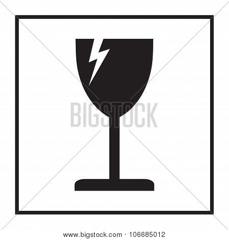 Fragile or packaging symbol. Glass icon. Vector illustration