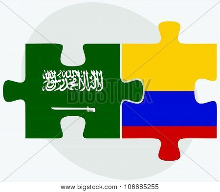 Saudi Arabia And Colombia Flags