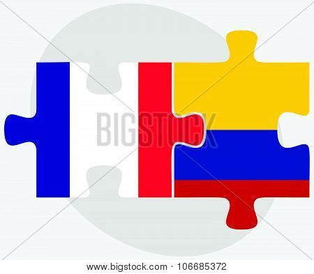 France And Colombia Flags