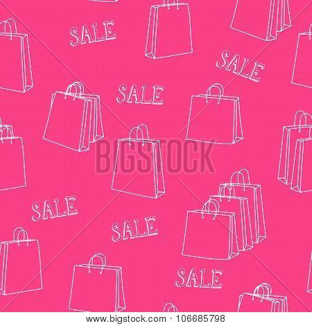 Sale Shopping Bags Seamless Pattern