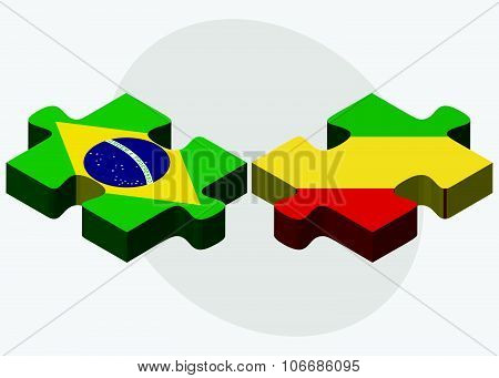 Brazil And Congo Flags