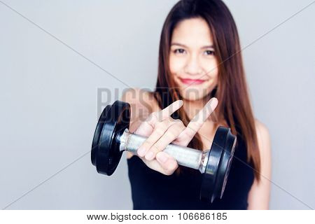 Thai Lady Hold The Dumbell With Love Finger Symbol