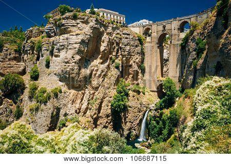The New Bridge - Puente Nuevo and waterfall in Ronda, Spain