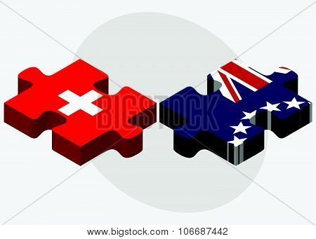 Switzerland And Cook Islands Flags