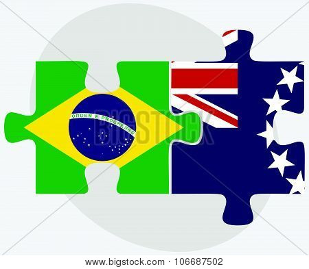 Brazil And Cook Islands Flags