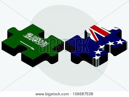 Saudi Arabia And Cook Islands Flags
