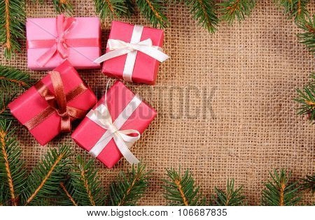 Wrapped Gifts For Christmas Or Other Celebration, Copy Space For Text