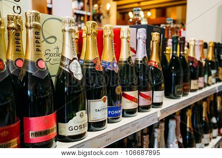 Champagne bottles at the wine store