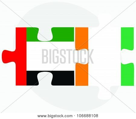 United Arab Emirates And Cote Divoire Flags