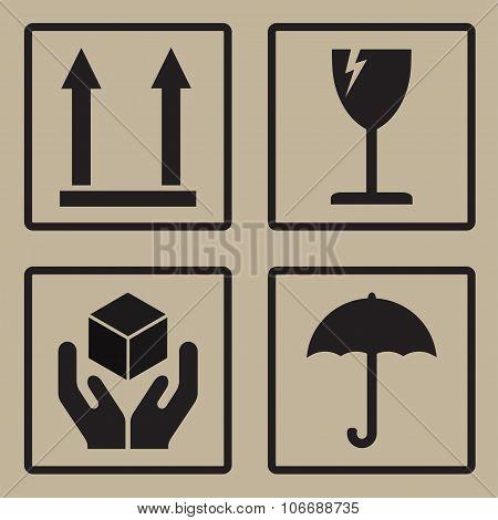 Packaging icons or sign set. Fragile symbols. Vector illustration.