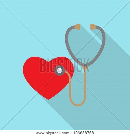 Stethoscope and heart icon or sign. Pulse care symbol. Element for medicine design.