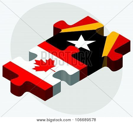 Canada And East Timor Flags