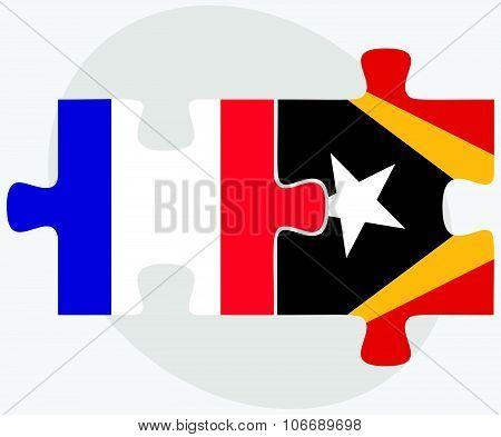 France And East Timor Flags