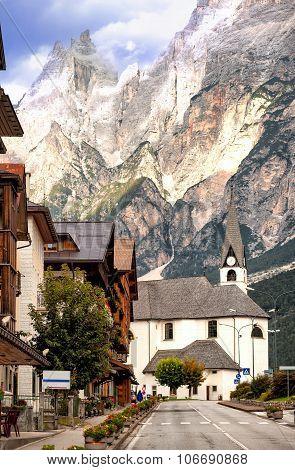 Alpine Village In Dolomites Alps, Tirol, Italy