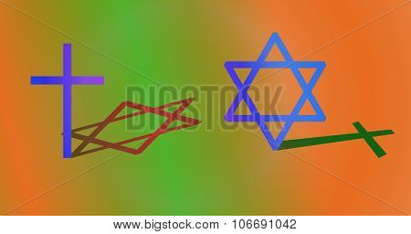 Interconnection between Christianity and Judaism concept.