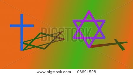 Big cross and big hexagram with different shadow.