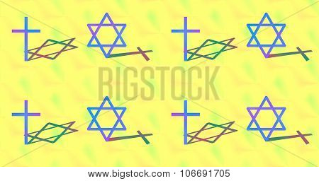 Cross and six-pointed star ecumenical pattern