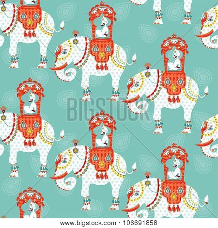 Decorated Indian Elephant With Maharaja On A Back. Seamless Background Pattern.
