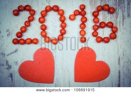 Vintage Photo, New Year 2016 Made Of Red Viburnum And Red Wooden Hearts On Old Wooden Background
