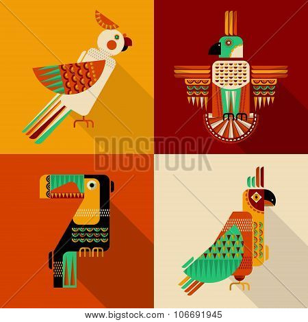 Set Of Birds In Geometric Style. Toucan, Parrot, Parakeet, Cockatoo In Mexican Style.