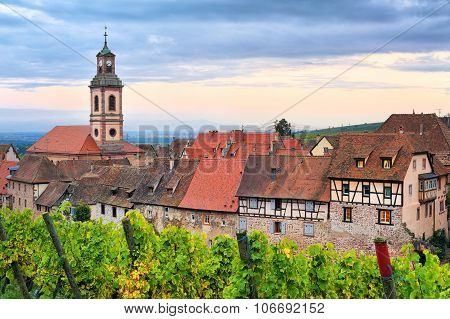 Riquewihr, Alsace, France On Sunset